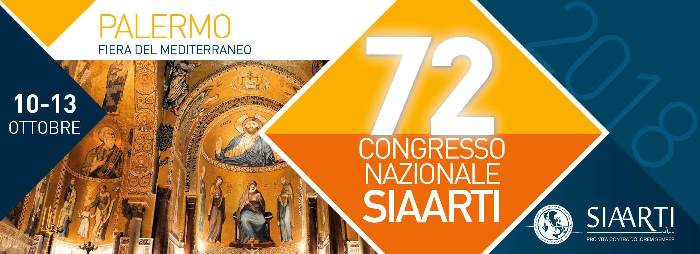 72° CONGRESSO NAZIONALE SIAARTI – PALERMO 11-13 OTTOBRE 2018